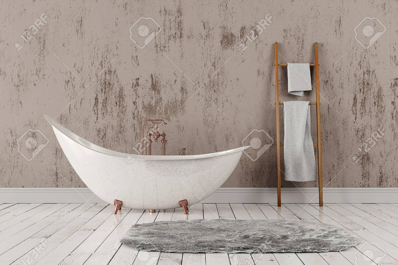 3D-Rendering Von Leeren Badezimmer Mit Holz Towelrail, Handtücher ...