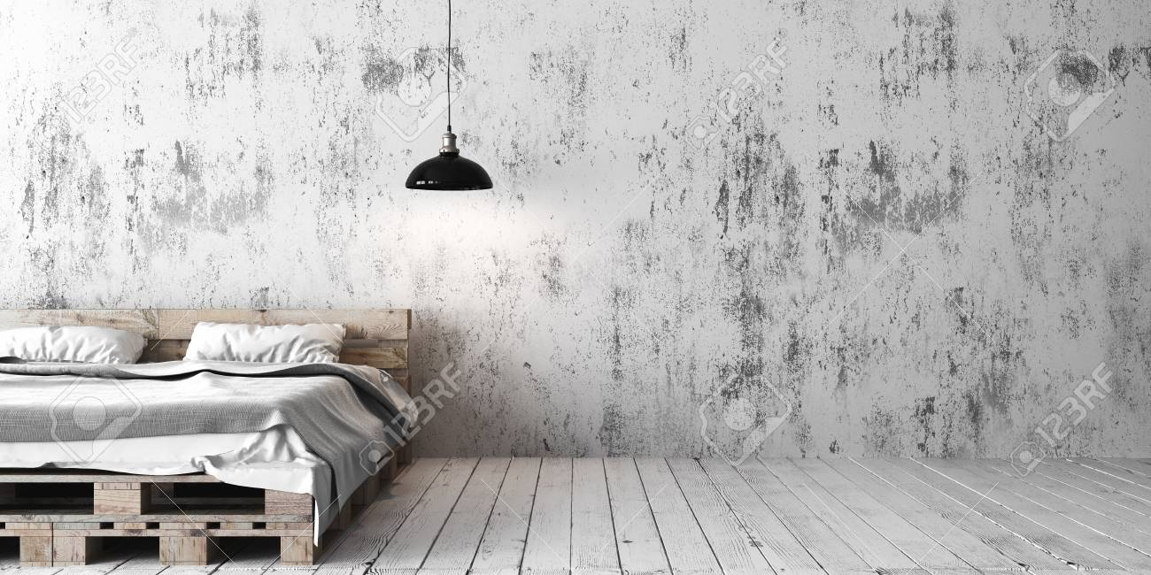 Beau A Loft Style Bedroom With Recycled Pallet Bed. White Eco Design Scheme Is  Bright And
