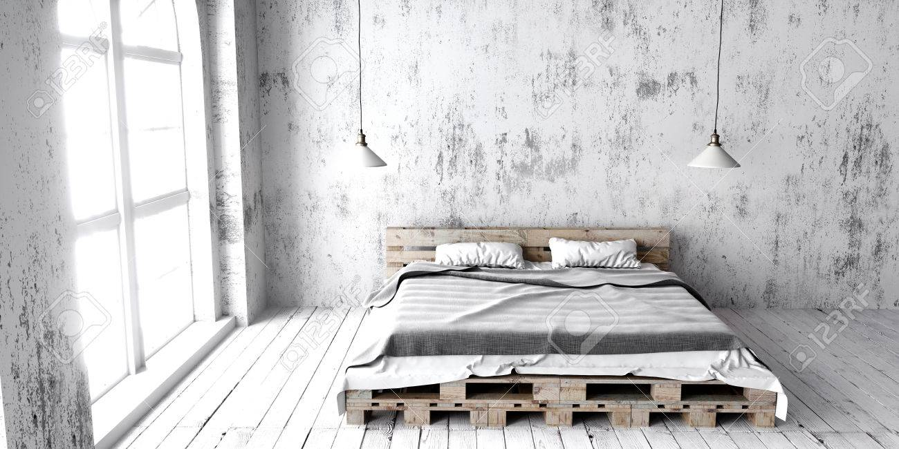 ein schlafzimmer im industriestil mit einem recycelten palettenbett