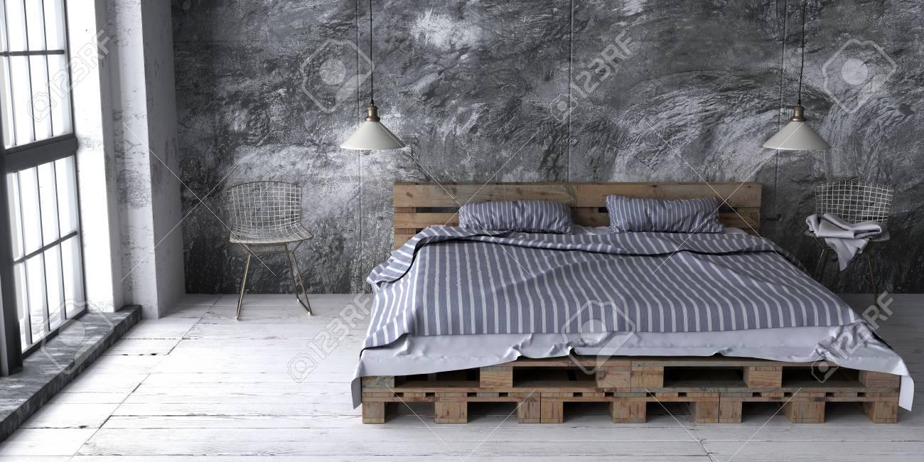 Une Chambre De Style Loft Avec Lit De Palettes Recyclé Le Schéma De