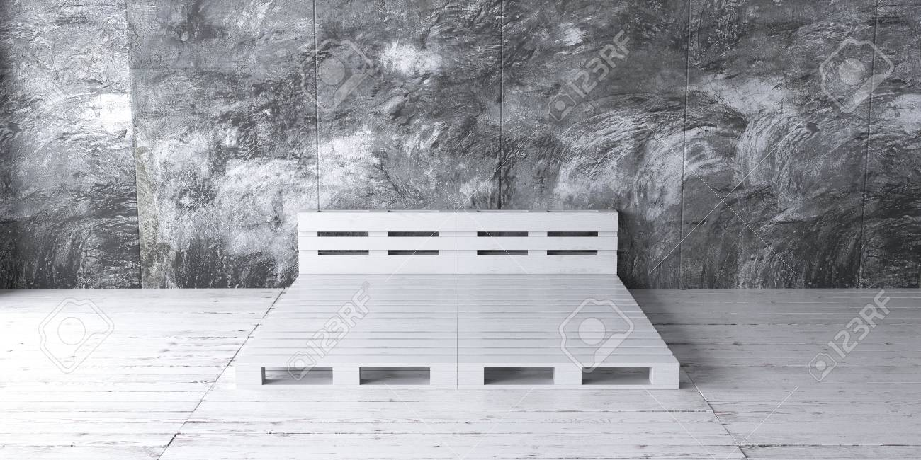 een industrile stijl slaapkamer met gerecycleerd palletbed frame ontwerpen 3d render stockfoto 85562465