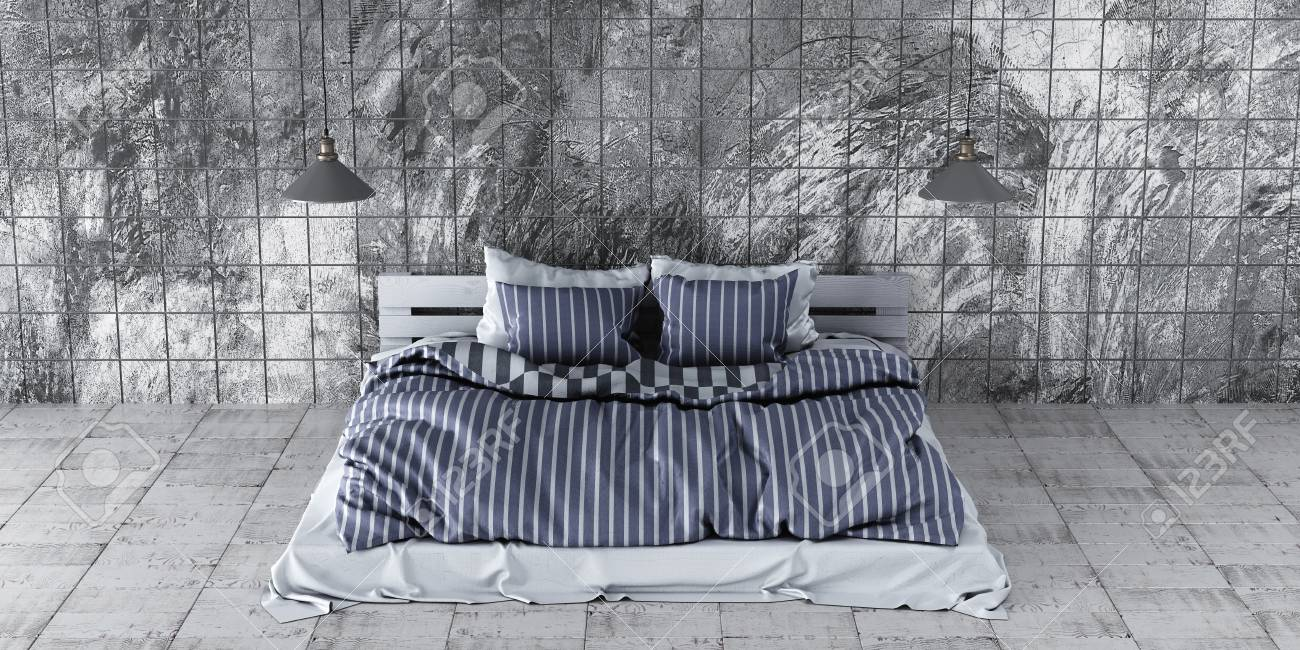 A Modern Style Bedroom With Recycled Pallet Bed Gray Design