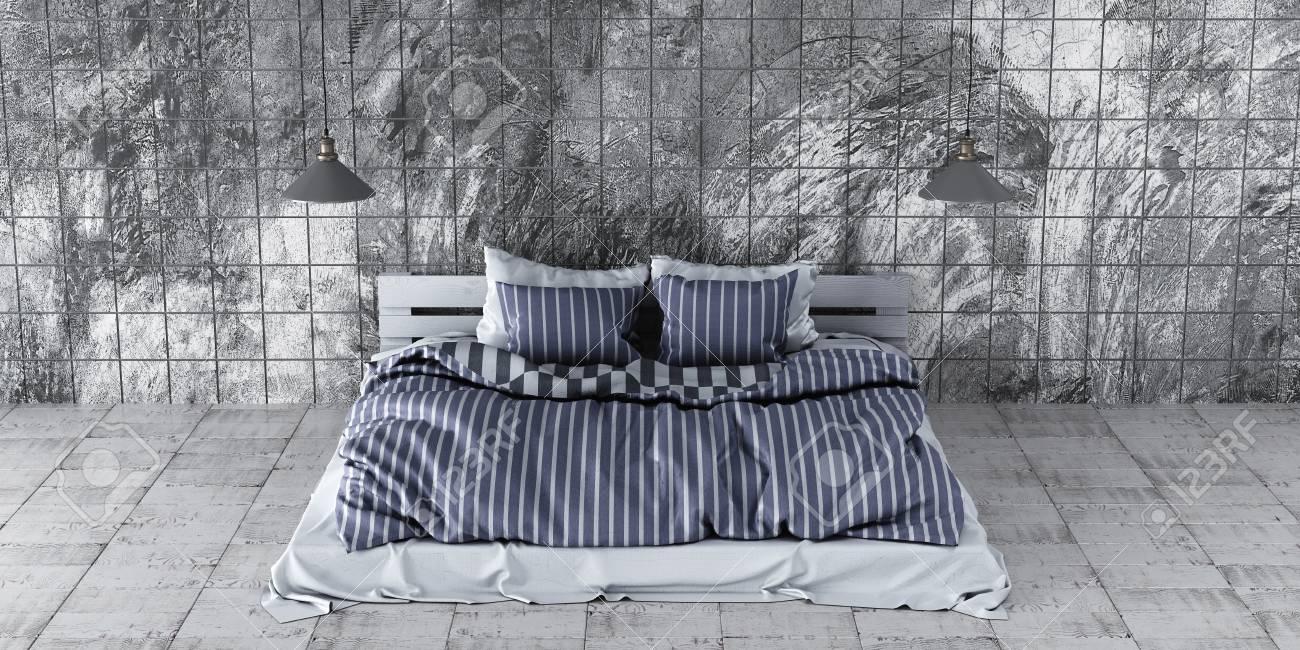 Camera Da Letto Grigia una camera da letto in stile moderno con letto pallet riciclato. lo schema  di design grigio è contemporaneo e minimalista. rendering 3d