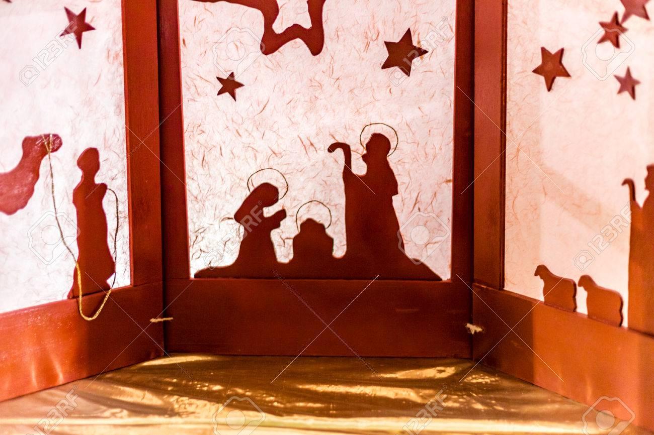 Silhouette Dune Scène De La Nativité De Noël La Bienheureuse Vierge Marie Et Saint Joseph Veille Sur Le Saint Enfant Jésus