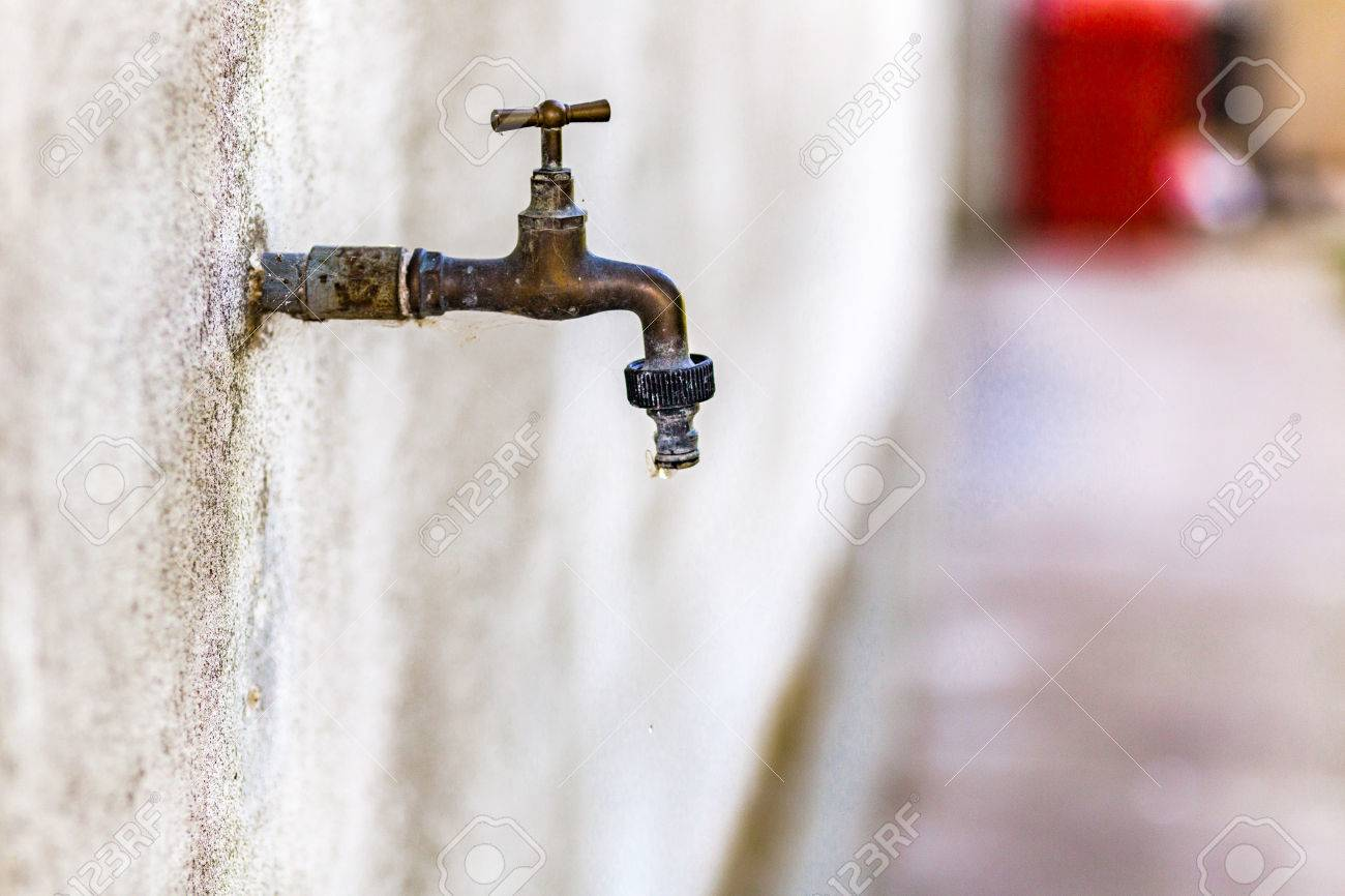 Rusty Old Faucet Drips Wasting Water Stock Photo, Picture And ...