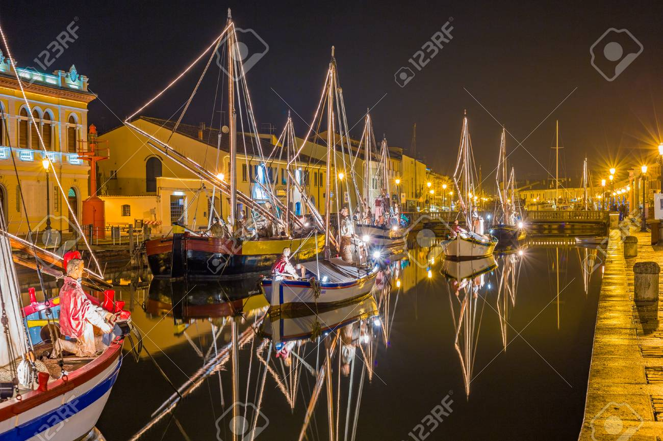 Christmas Boat Decorations.Night View Of Christmas Lights And Decorations And Marine Crib