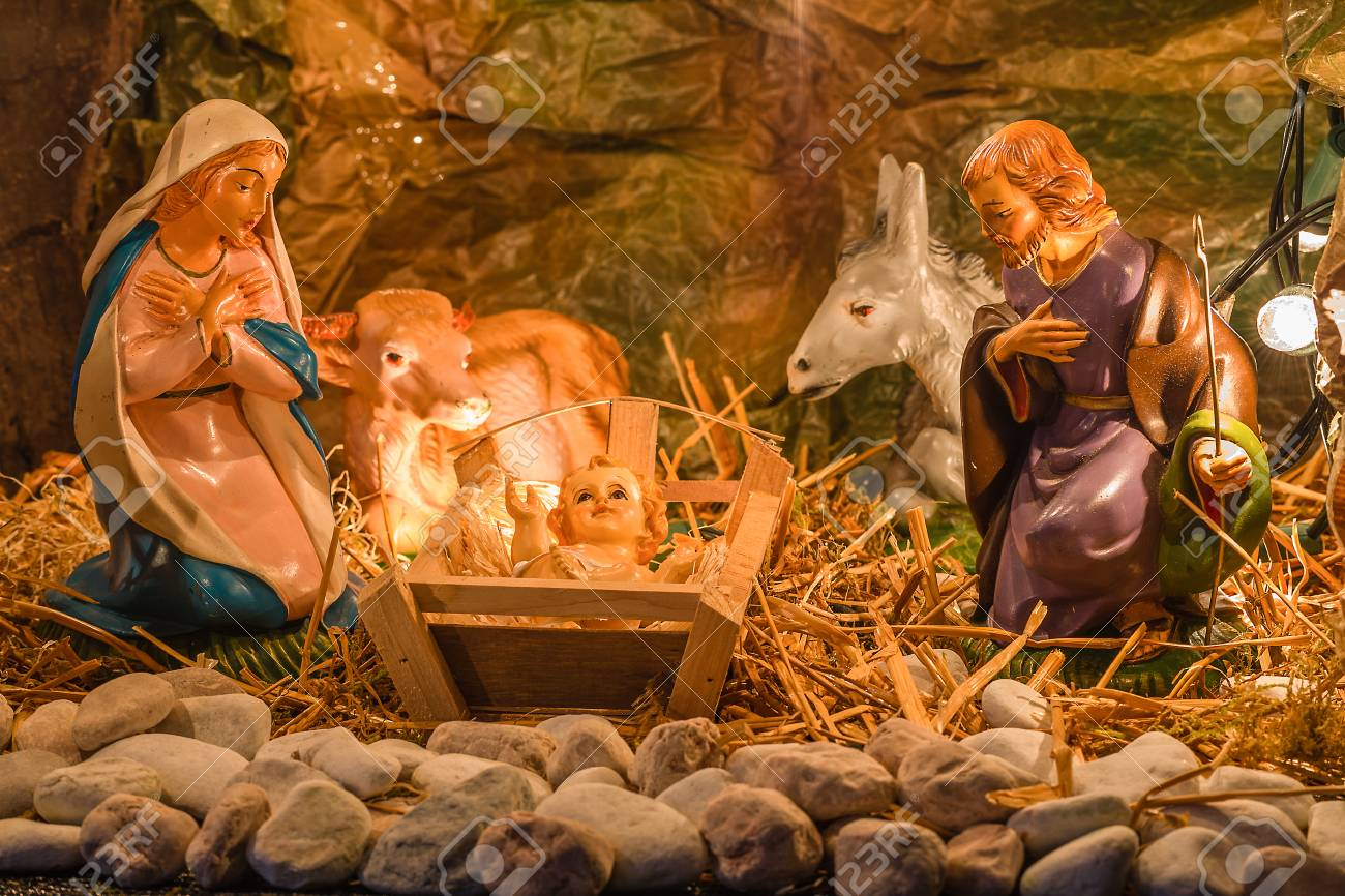 Christmas Nativity Scene Of Holy Baby Jesus In The Manger With ...