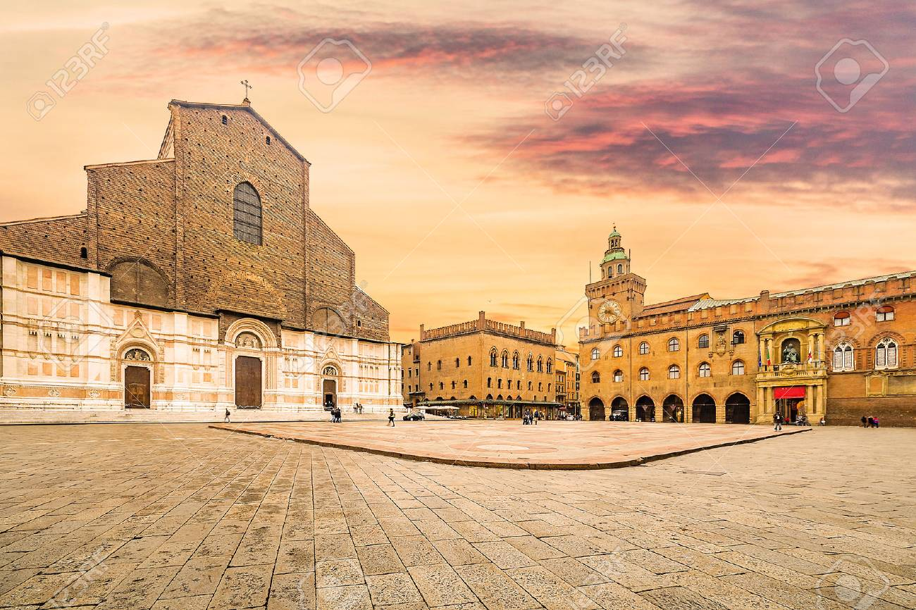 historic center of Bologna in Italy, ancient buildings and basilica in main square - 68390353