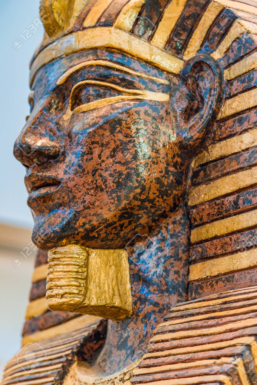 Close Up Of Fake Egyptian Sarcophagus Head Stock Photo