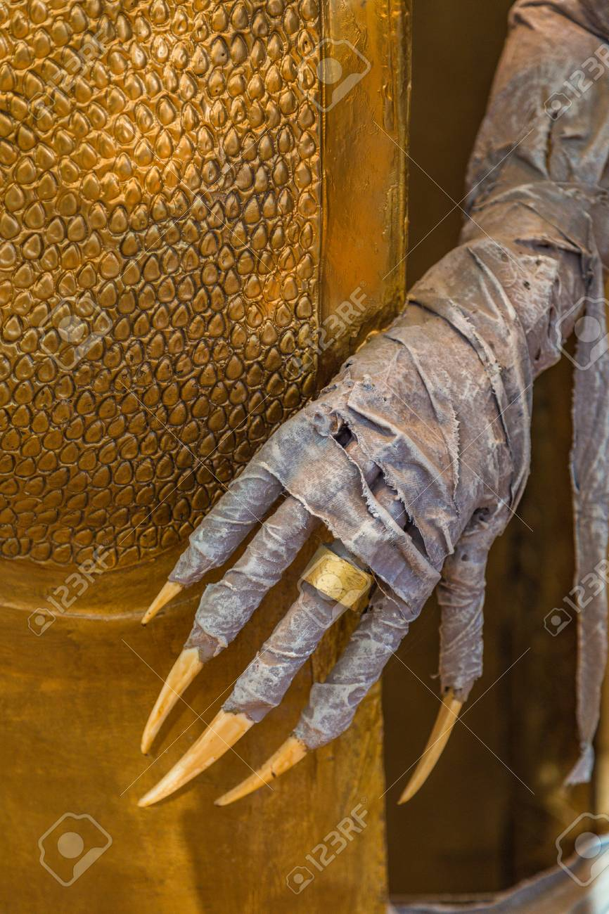 Horror Movie Mummy Detail Of Hand With Hooked Fingers With Long