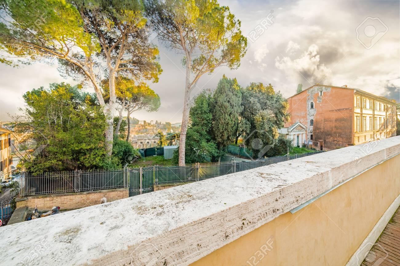 Vista Panorámica Del Centro Histórico De Roma Italia Desde La Terraza