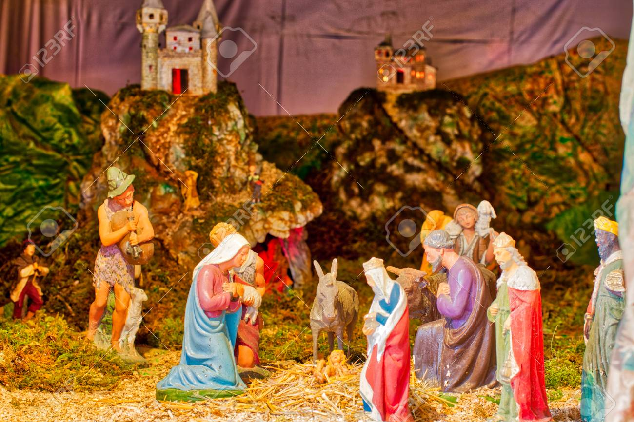 Christmas Nativity Scene.Panoramic Christmas Nativity Scene With The Holy Child The Blessed