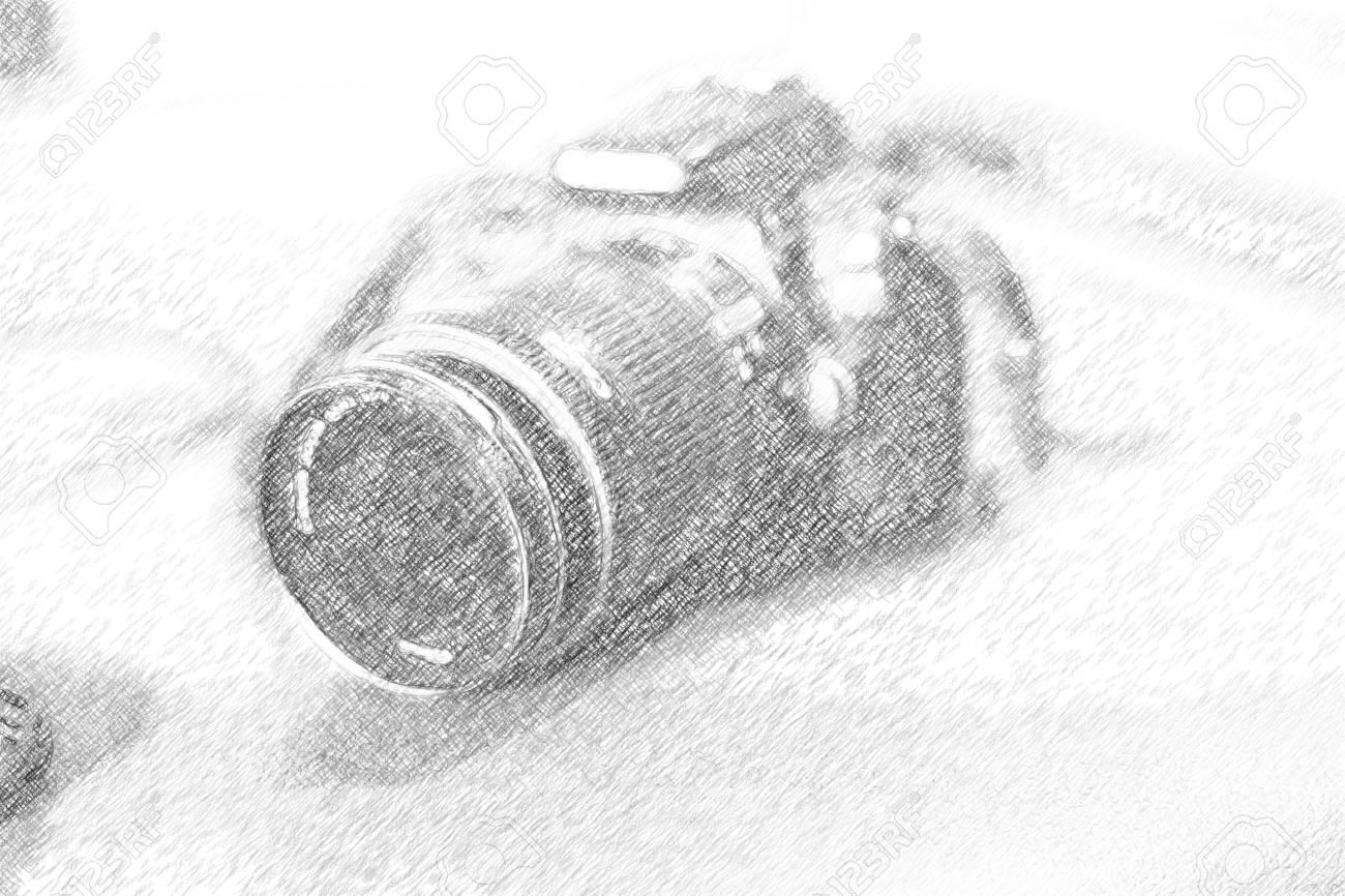 Illustration pencil sketch illustration of dslr camera