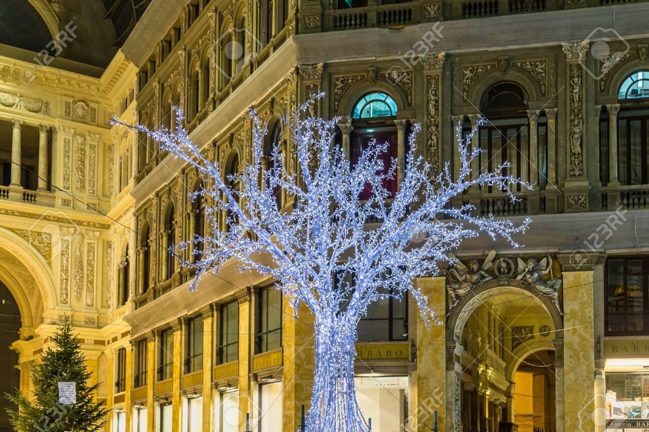 NAPLES, ITALY   JANUARY 2, 2020: Lights Of Christmas Tree Are