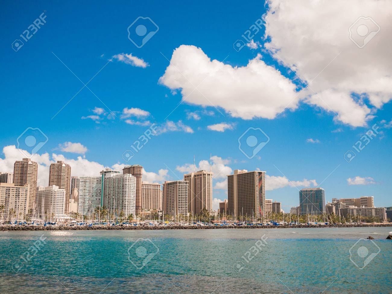 HONOLULU, HAWAII - FEB 2, View of Waikiki Yacht club from Ala Moana beach park with buildings behind Stock Photo - 14916005