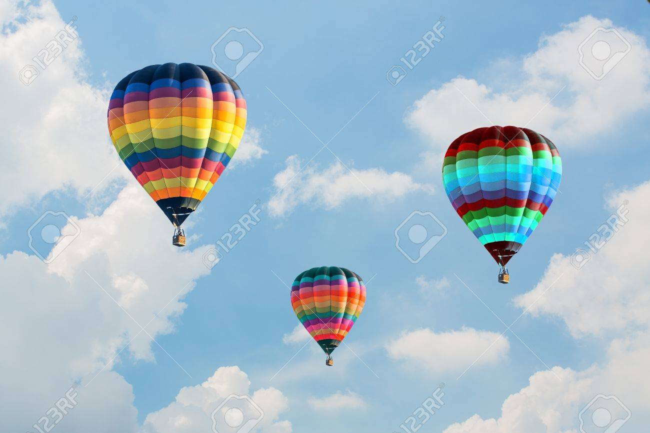 Colorful hot air balloons on the blue sky Stock Photo - 16608866