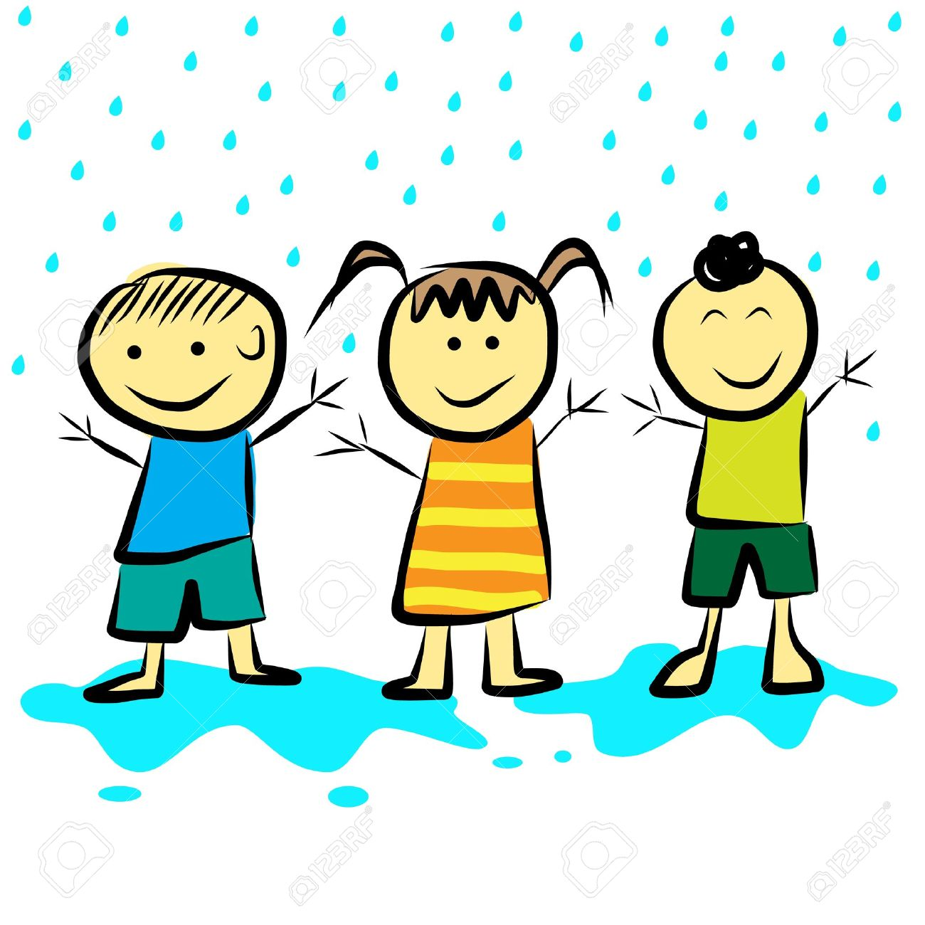 kids playing in the rain format royalty free cliparts vectors and rh 123rf com Couple Dancing Clip Art Group Dancing Clip Art