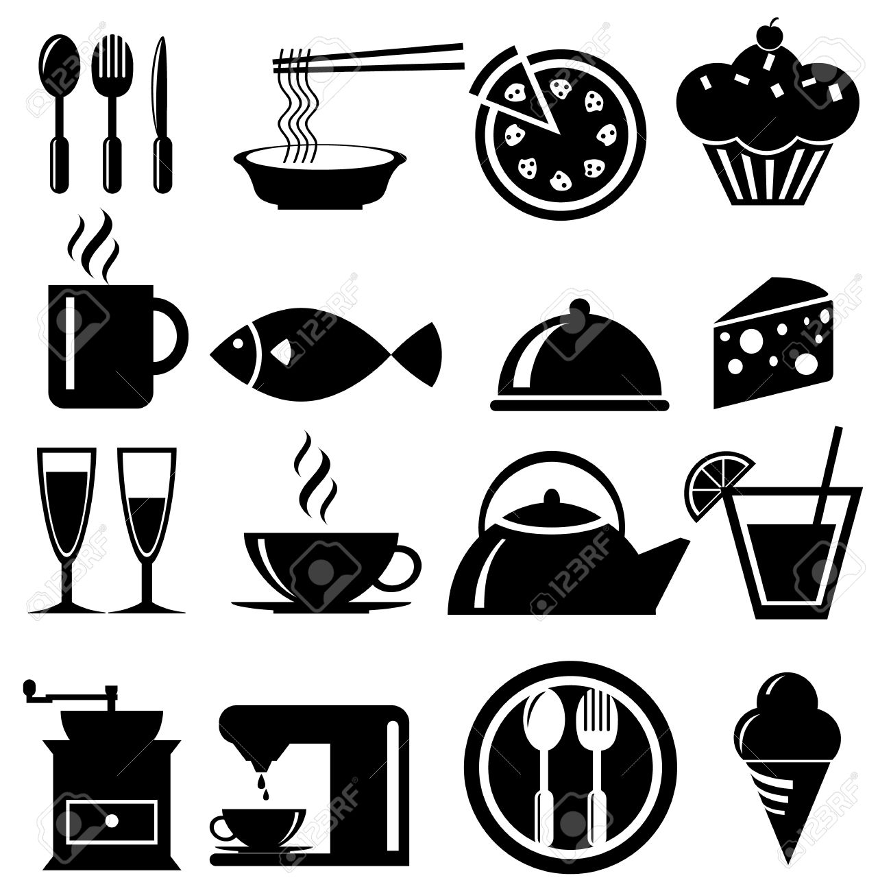 Food icons set, vector format Stock Vector - 23212088
