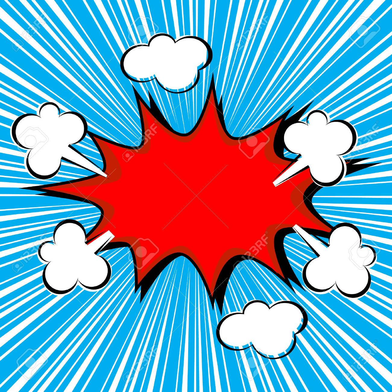 boom comic speech bubble with radial speed vector illustration