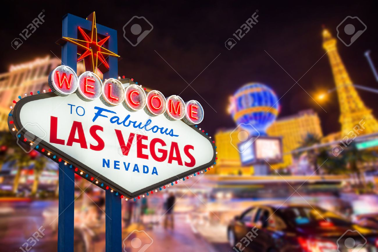 Stock footage welcome to fabulous las vegas sign with flashing lights - Vegas Welcome To Fabulous Las Vegas Nevada Sign With Blur Strip Road Background