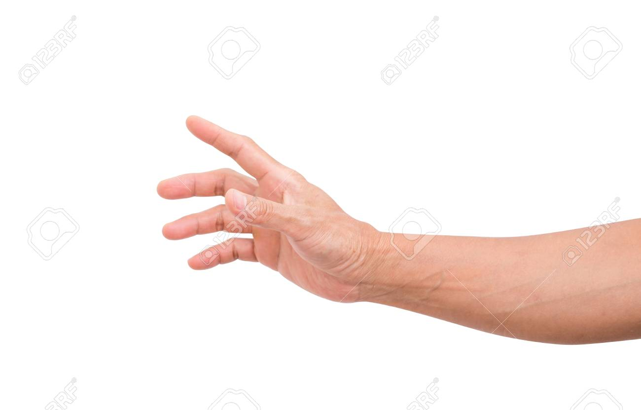 Man hand grabbing isolated on white background; clipping path - 90000886