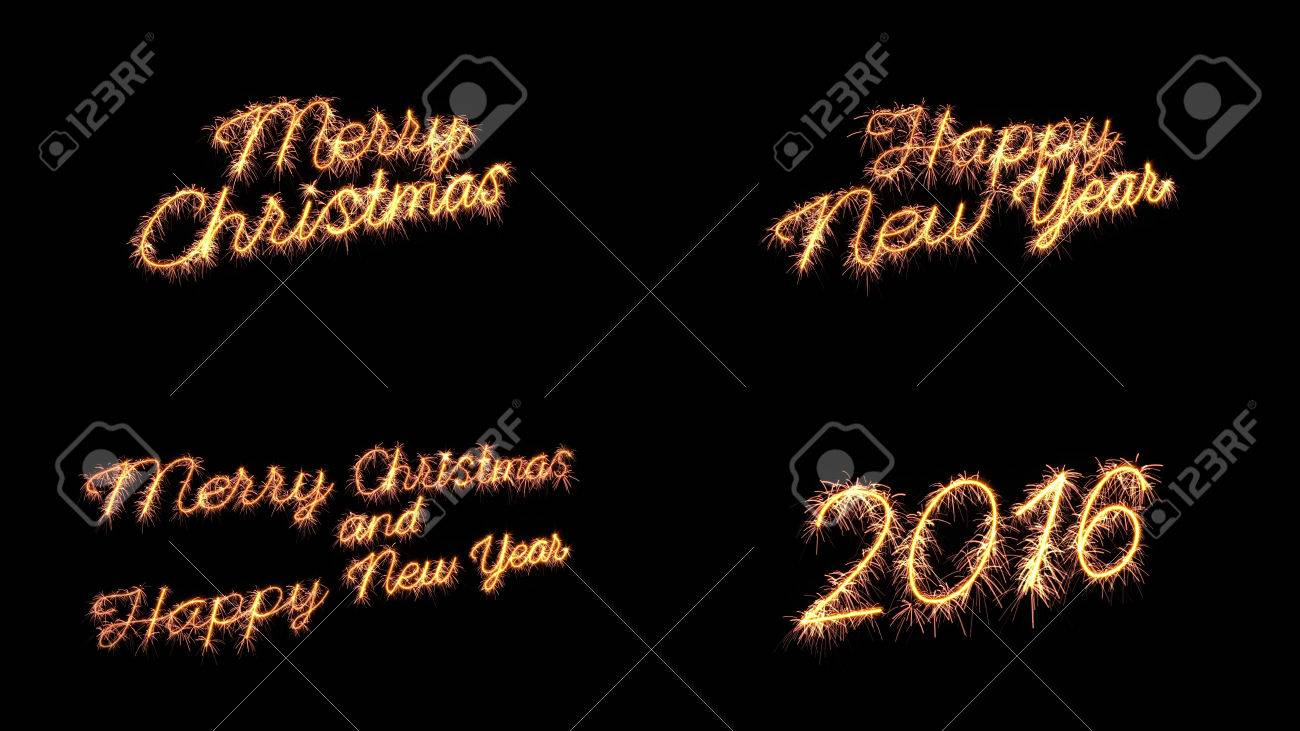 Sparkler Text Merry Christmas New Year Greeting Set Stock Photo