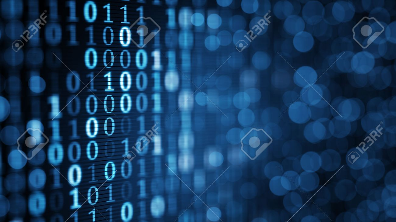 blue digital binary data on computer screen. Close-up shallow DOF Stock Photo - 47560283