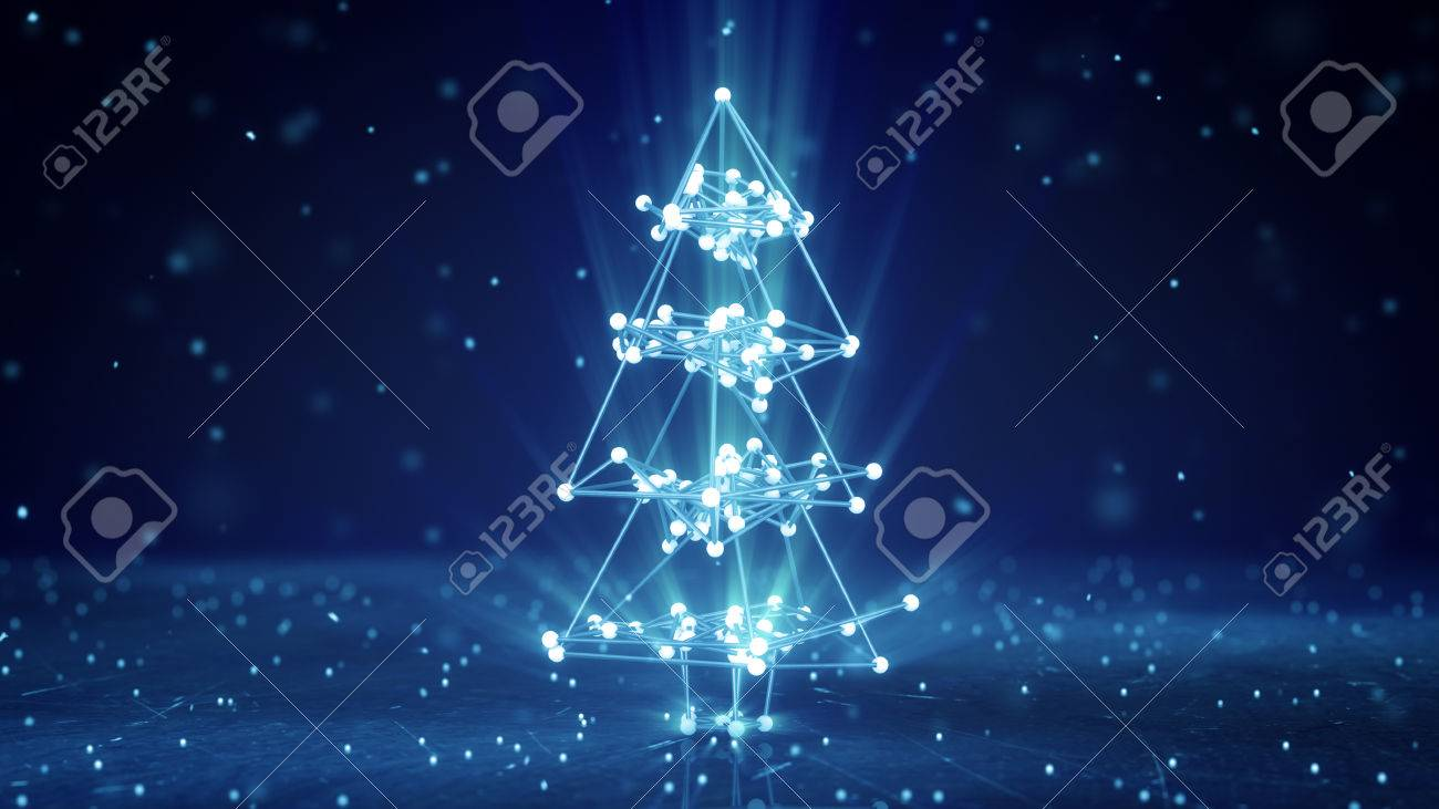 Glowing Wireframe Christmas Tree Shape. Abstract Holiday 3D Render ...