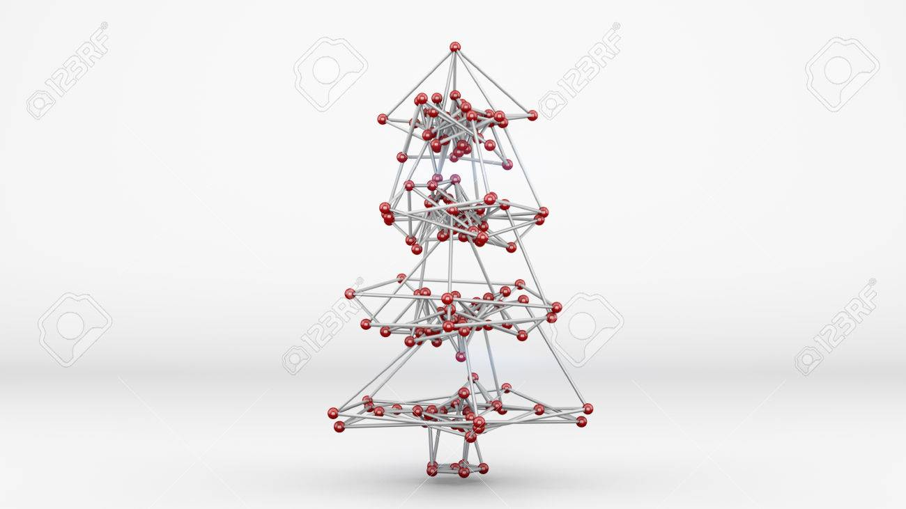 Wireframe Mesh Of Christmas Tree. Abstract Holiday 3D Render Stock ...