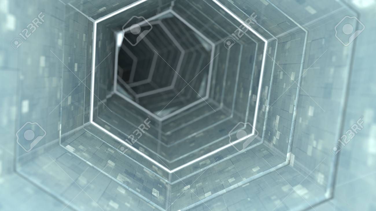 Technology tunnel with metallic walls  Abstract sci-fi 3D render