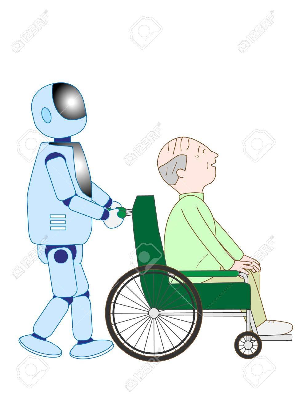 高齢者介護ロボットのイラスト素材ベクタ Image 57972205