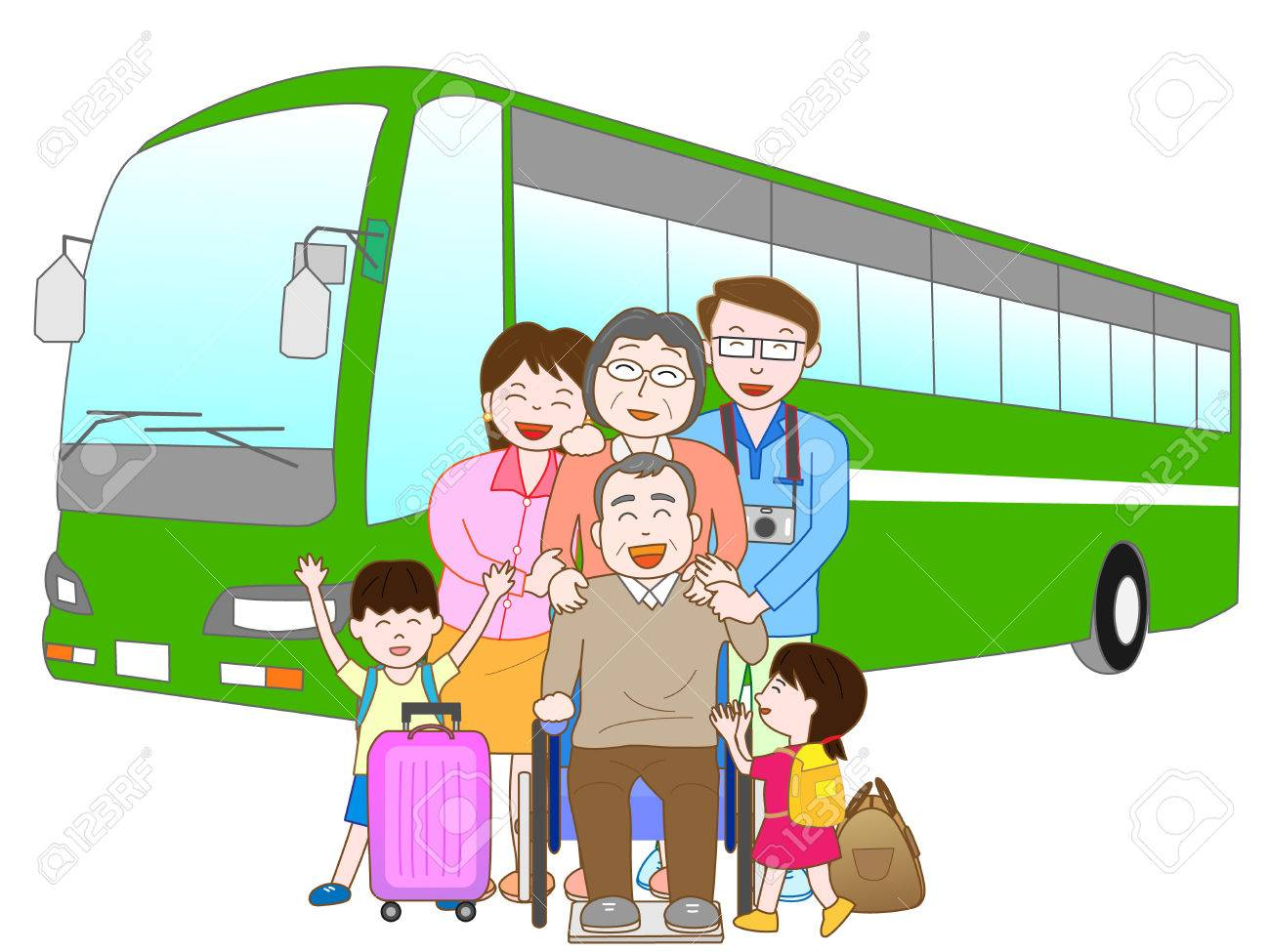 Bus Travel In The Family Stock Vector