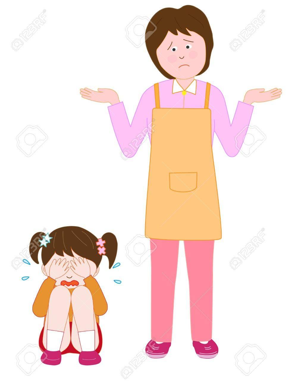 当惑の女性で泣いている子供のイラスト素材・ベクタ - Image 68298633.
