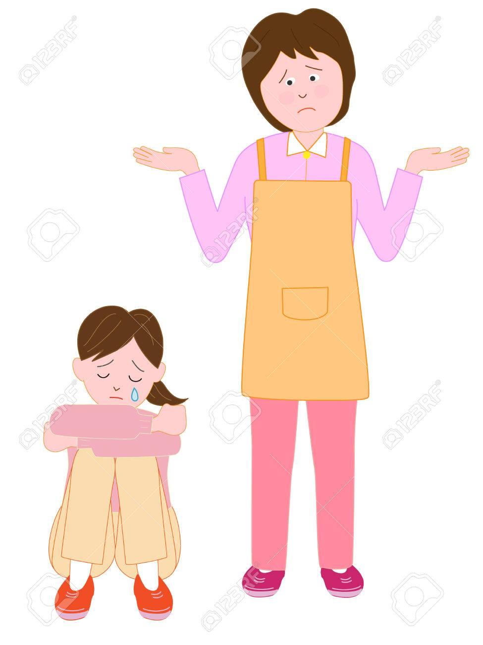 当惑の女性で泣いている子供のイラスト素材・ベクタ - Image 68298635.