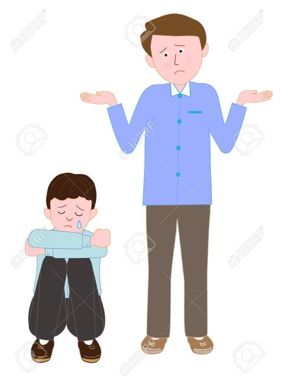 混乱している人に泣いている子のイラスト素材 ベクタ Image