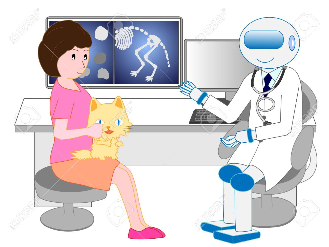 Receiving treatment from the artificial intelligence robot veterinarian