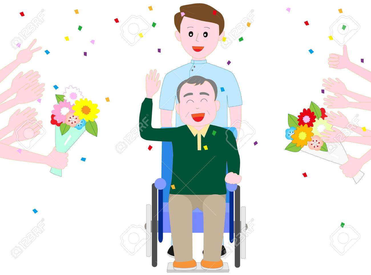 They give a bouquet of flowers to an elderly person in a wheelchair - 146736184