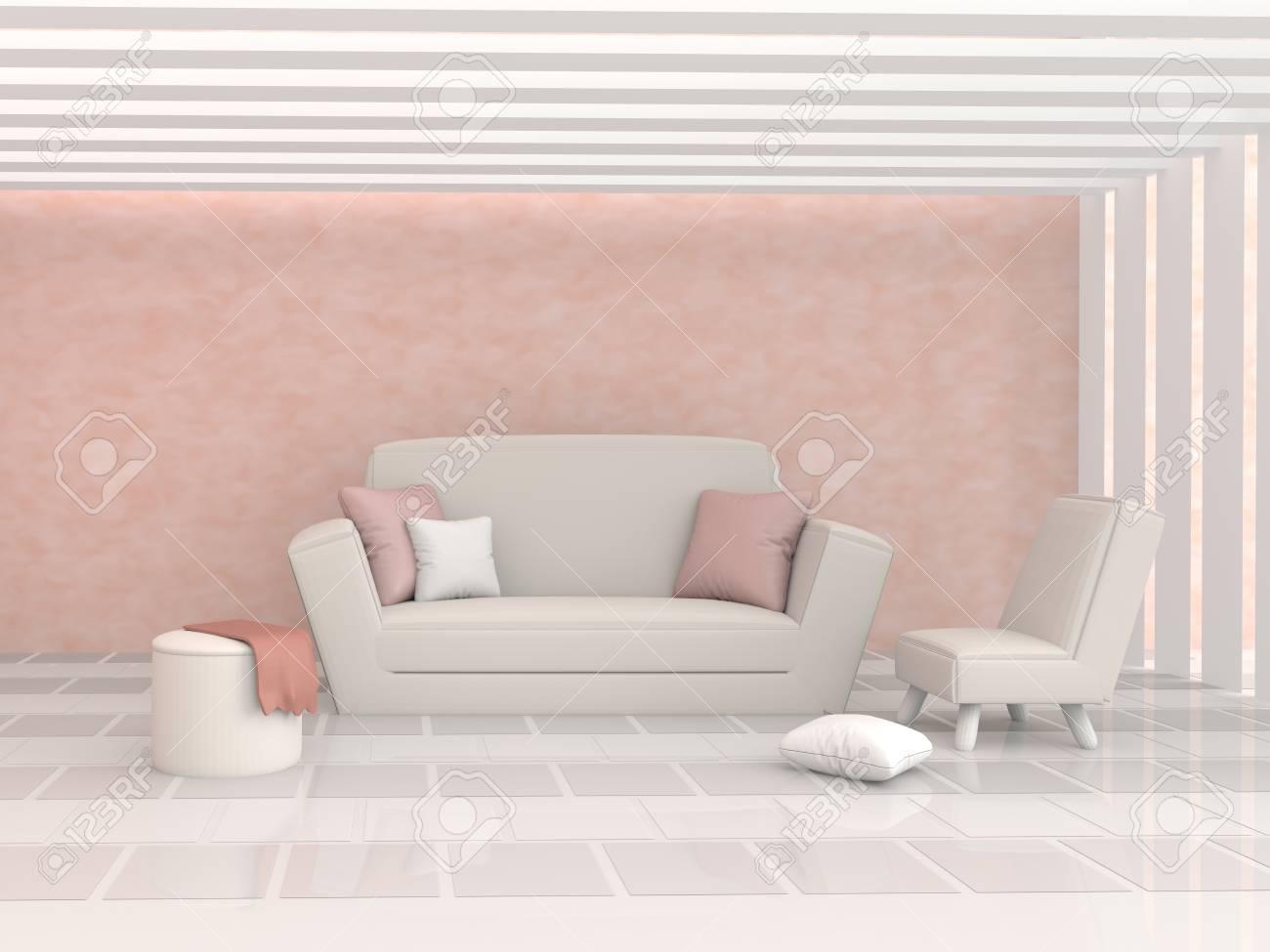 Le salon est meublé d\'oreillers, canapé, chaise, peinture murale en ciment  de couleur orange, plafond en slacté et plancher décoré de carreaux blancs  ...