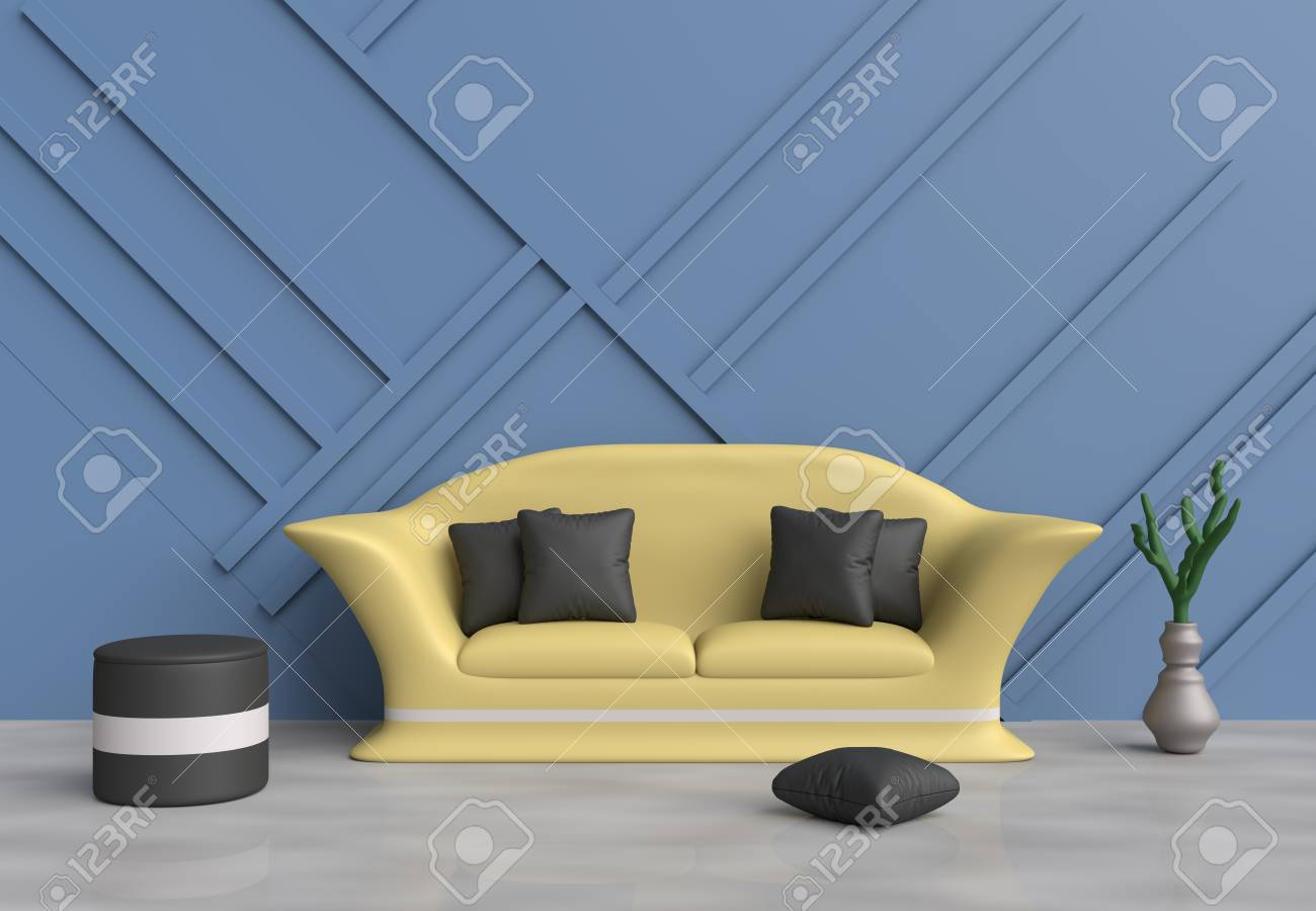 Blue Living Room Are Decorated With Yellow Sofa Black Pillows Stock Photo Picture And Royalty Free Image 77370623