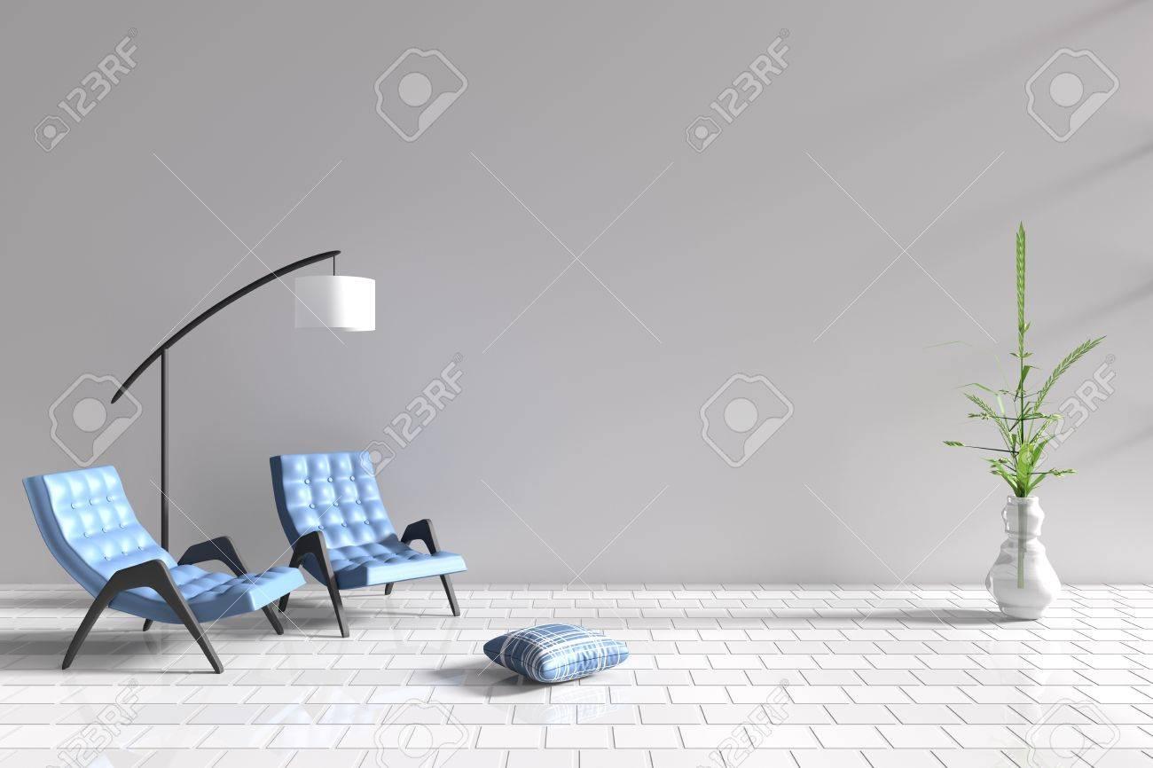 Wohnzimmer Im Entspannungstag. Dekor Mit Zwei Blauen Sessel, Blau Weißen  Kissen, Weiße Lampe, Baum In Der Vase, Gitter Zement Wand Und Fliesenboden.