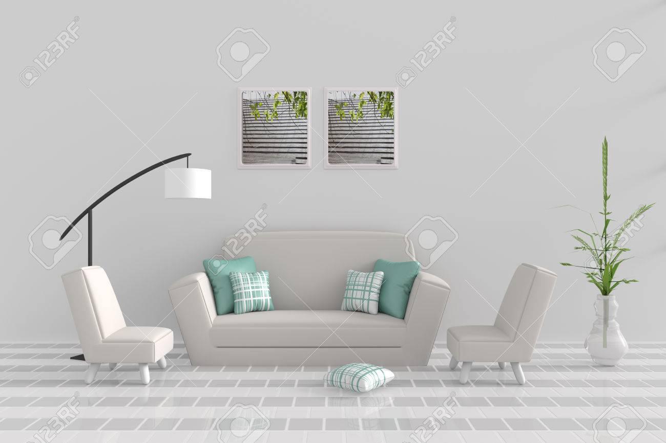 Wohnzimmer Im Entspannungstag. Dekor Mit Sofa, Zwei Sessel, Grün Weiße  Kissen, Weiße Lampe, Baum In Der Vase, Gitter Zement Wand Und Fliesenboden.