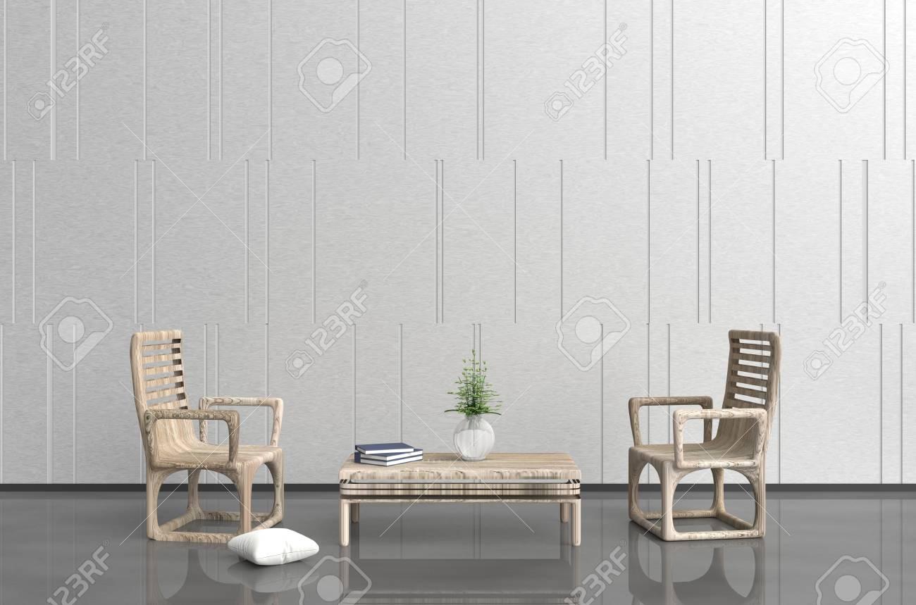 Le salon blanc-gris est décoré avec un fauteuil et une table en bois, un  vase en verre, un oreiller blanc, un livre bleu, un mur en ciment blanc, un  ...