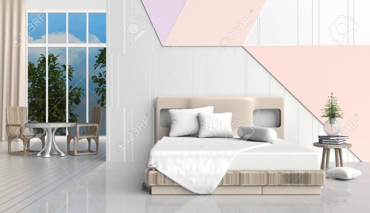 La Chambre A Coucher De Couleur Pastel Est Decoree Avec Le Lit Chaise En Bois Larbre Dans Vase Verre Les Oreillers Blancs Livre Bleu