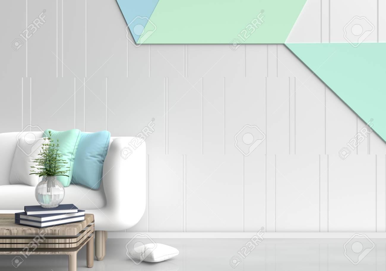 Pastell Zimmer Sind Mit Weissen Sofa Baum In Glasvase Hellgrunen