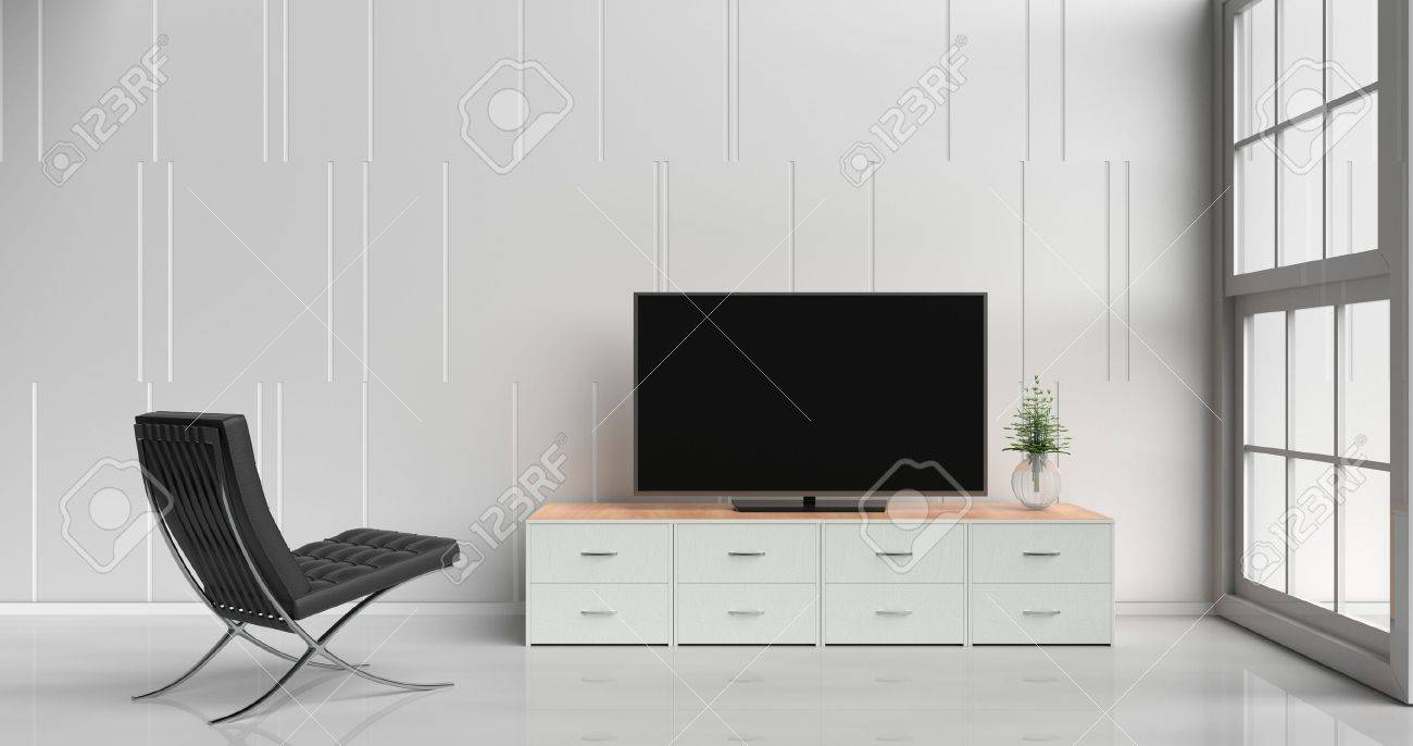 Smart Tv On Tv Stand In White Living Room Decorated With Wood ...