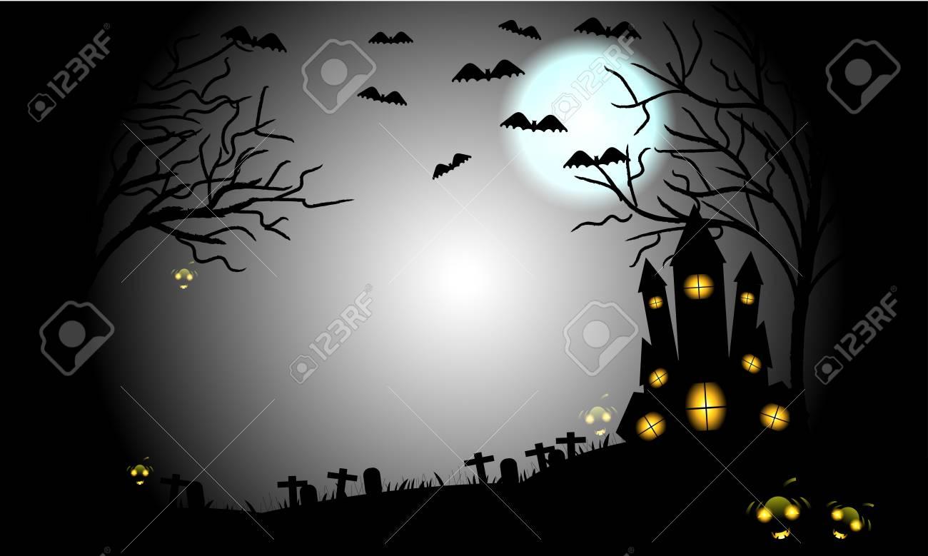 Halloween Kruis.Halloween Pompoenen En Donker Kruis Knuppels Boom En Graf Op Lichtblauwe Maan En Donkere Kasteelachtergrond Illustratie