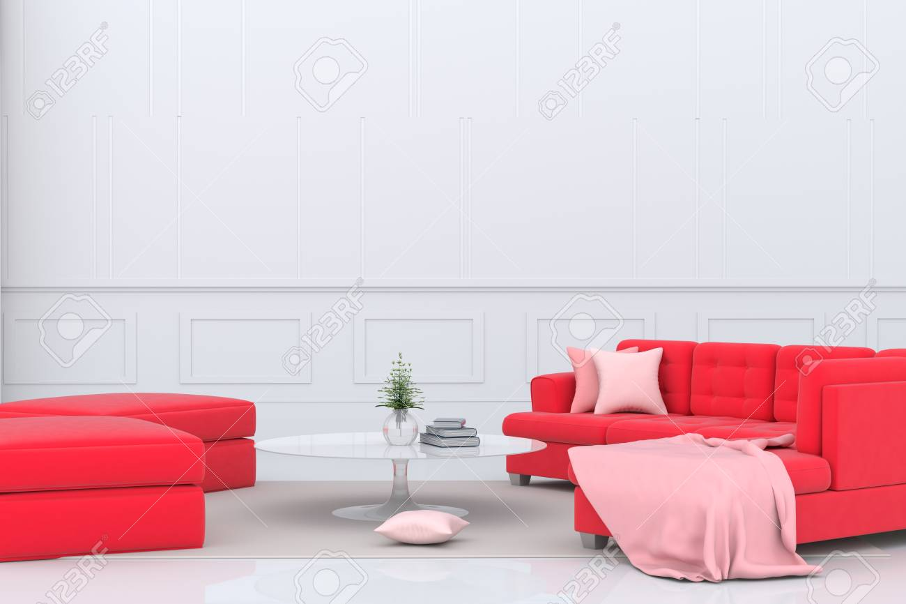 Living Room In Valentine Day Decor With Red Sofa, Pink Fabric ...