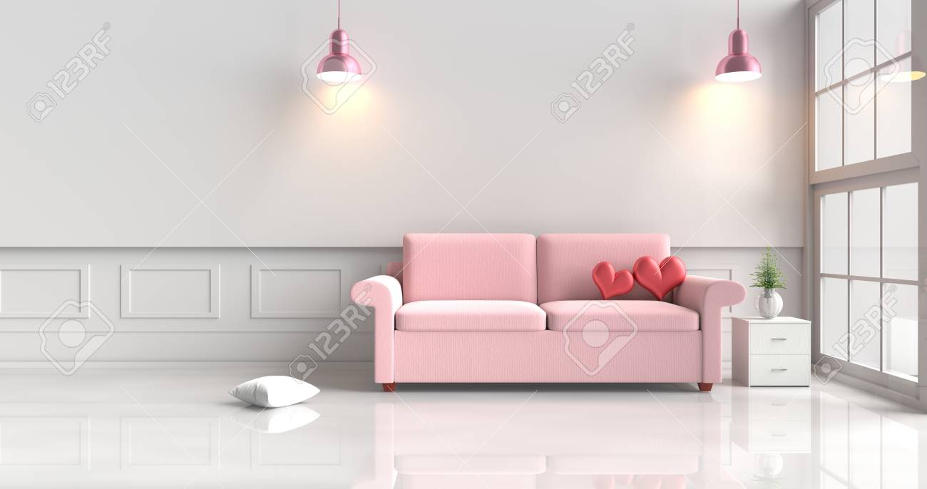 Two Red Hearts On Pink Sofa In White Living Room Decor With Tree ...