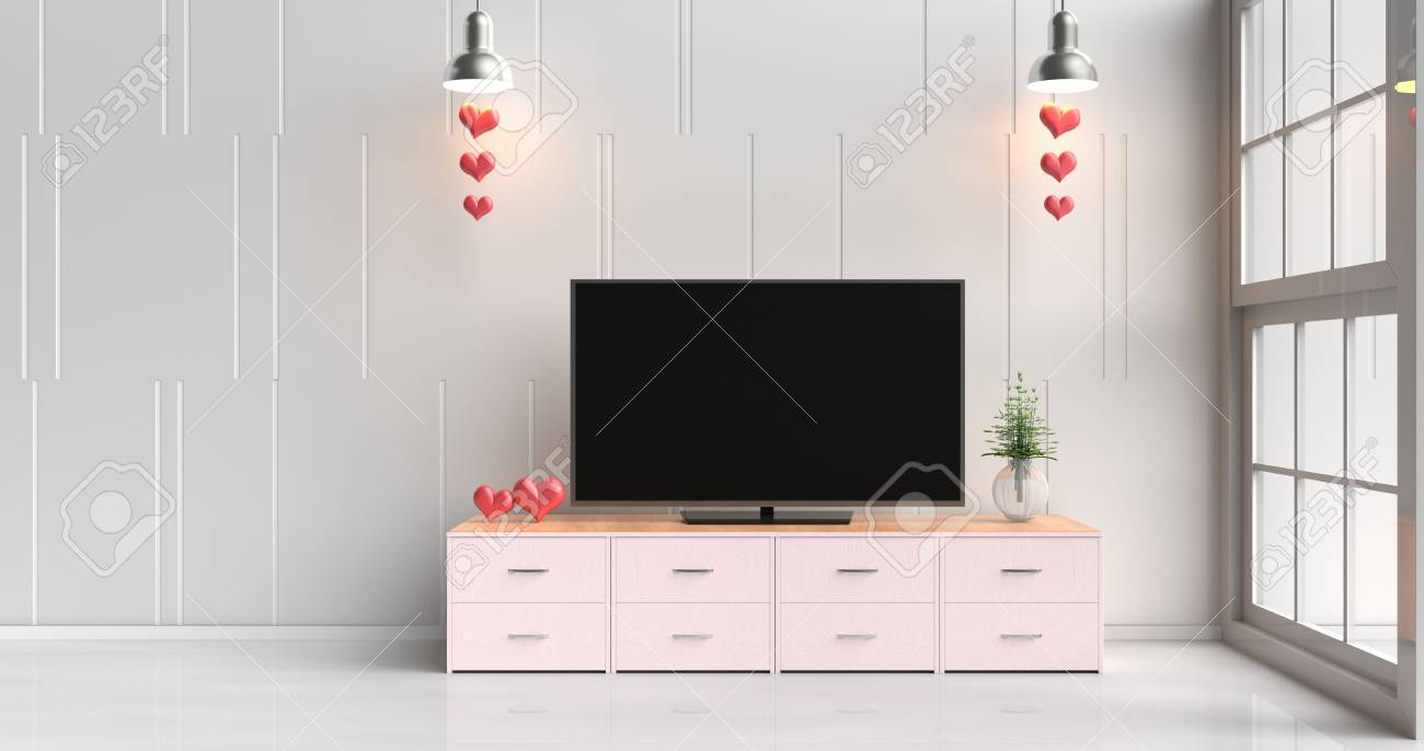 Smart Tv On Pink Tv Stand In White Living Room Decorated With ...