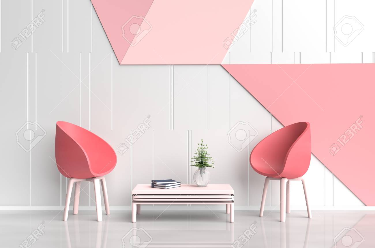 White-red Pink Room Of Love Are Decorated With Red Chair, Tree ...